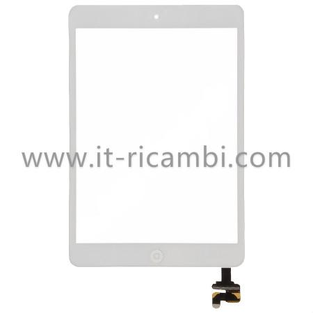 TOUCH+TASTO HOME FLEX COMPLETO PER APPLE IPAD MINI / IPAD MINI 2 BIANCO GRADE A CON IC