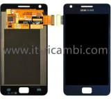TOUCH + LCD DISPLAY COMPLETO SENZA FRAME PER SAMSUNG GALAXY S2 PLUS I9105 BLU
