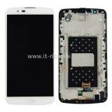 DISPLAY LCD + TOUCHSCREEN DISPLAY COMPLETO + FRAME PER LG K10 K420N BIANCO