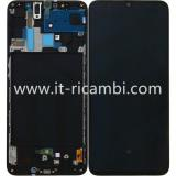 DISPLAY LCD + TOUCHSCREEN DISPLAY COMPLETO + FRAME PER SAMSUNG GALAXY A70 A705F NERO ORIGINALE