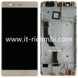 TOUCHSCREEN + DISPLAY LCD DISPLAY COMPLETO + FRAME PER HUAWEI P9 PLUS VIE-L09 TFT ORO