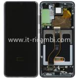 TOUCHSCREEN + DISPLAY LCD DISPLAY COMPLETO + FRAME PER SAMSUNG GALAXY S20 PLUS S20+ G985F G986F NERO ORIGINALE