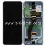 TOUCHSCREEN + DISPLAY LCD DISPLAY COMPLETO + FRAME PER SAMSUNG GALAXY S20 G980F BLU ORIGINALE