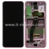TOUCHSCREEN + DISPLAY LCD DISPLAY COMPLETO + FRAME PER SAMSUNG GALAXY S20 G980F ROSA ORIGINALE