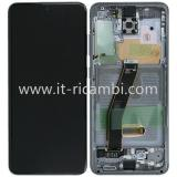 TOUCHSCREEN + DISPLAY LCD DISPLAY COMPLETO + FRAME PER SAMSUNG GALAXY S20 G980F GRIGIO ORIGINALE