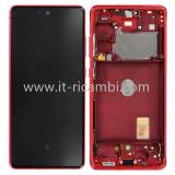 DISPLAY LCD + TOUCHSCREEN DISPLAY COMPLETO + FRAME PER SAMSUNG GALAXY S20 FE 5G G781B ROSSO ORIGINALE